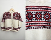 Vintage Red, White & Black Fair isle/ Nordic Chunky Cardigan Sweater. Unisex, Size S/M