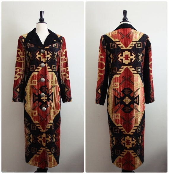 FREE SHIPPING Vintage Southwestern Native American Navajo Long Coat. S/M