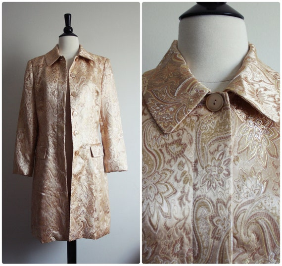 Vintage Gold Floral Paisley tapestry Coat, Jacket. Size S/M