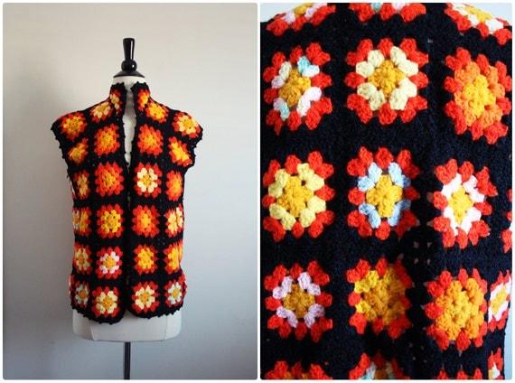Vintage 70s Boho crochet granny square vest. Cutout Festival hippie Sweater top. One Size