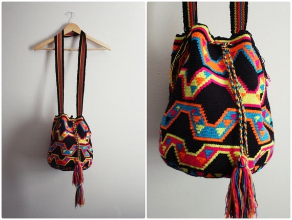 Free Shipping to USA- Wayuu Bag - Hand woven Mochila Bag - Neon Colorful Native Print.