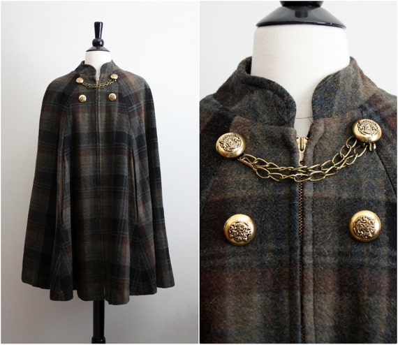 Vintage 60s Wool Military Plaid Cape.