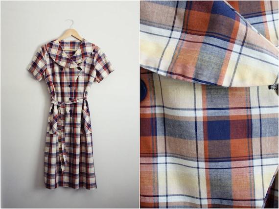 Vintage 60's Plaid Cotton Day Dress. Size M/L