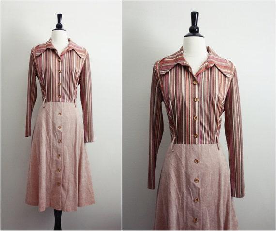 Vintage 70s Mocha Secretary Dress. Size Large.