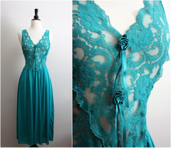 Vintage 80s Green-Aquamarine Summer lace Slip Dress. Size Small