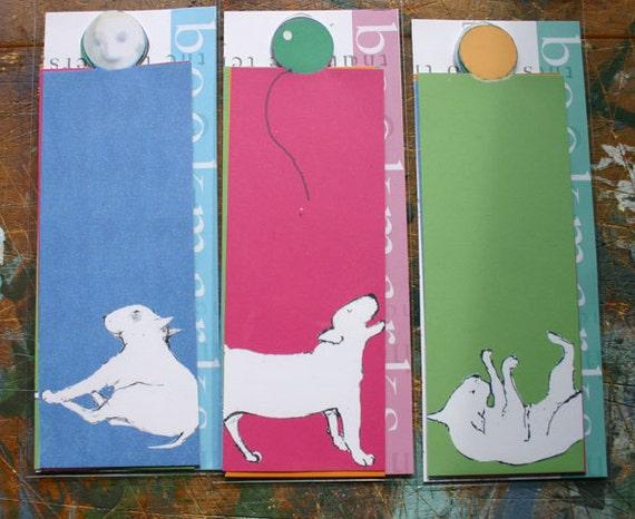 Bookmarks Bull Terrier Art - Pack of Five