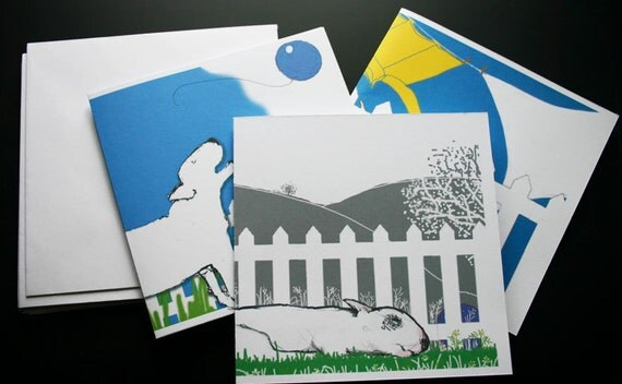 Bull Terrier Art Cards The Picket Fence Pack of Six