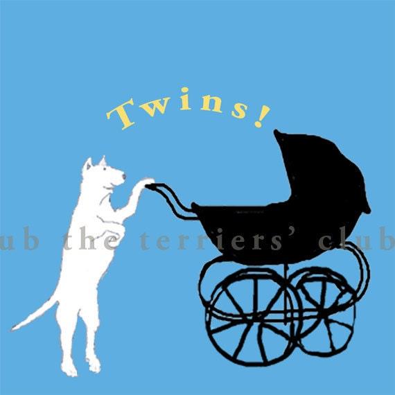 Bull Terrier Art Cards - New Baby