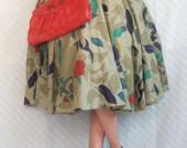 Vintage 70s Full Circle Mod Khaki Skirt Size M/L