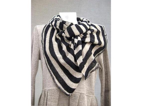 Organic linen white cream beige black stripes scarf wrap