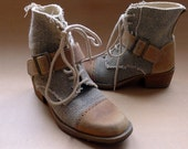 90s jute fabric tan leather buckle lace up heel boots Eur 38 / US 7.5