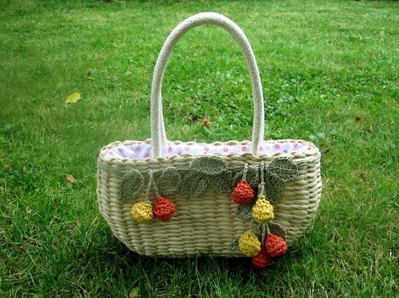 70s yellow green orange fruity  woven basket handbag.