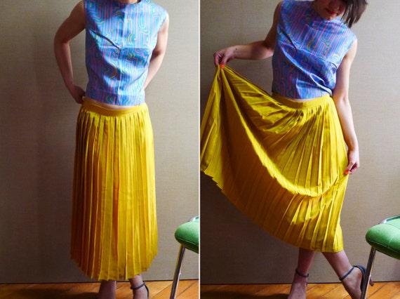 80s jupe longue pliss e jaune moutarde m. Black Bedroom Furniture Sets. Home Design Ideas