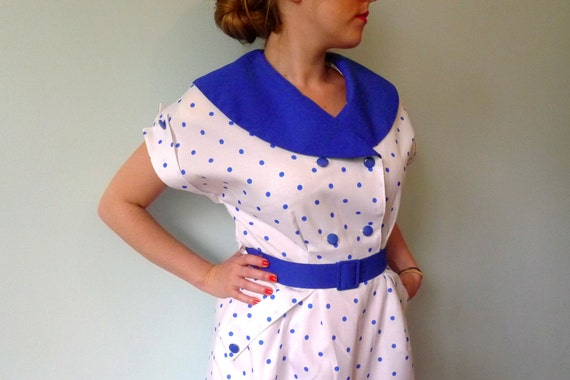 80 white blue polka dot sailor collar double breasted belted wiggle sailor dress L.