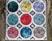 Fresh, Bright, Floral Wall Quilt Decor- Hand Dyed and Original Flower Stencil Design - Size is Almost 1 Yard Square - Free Shipping USA