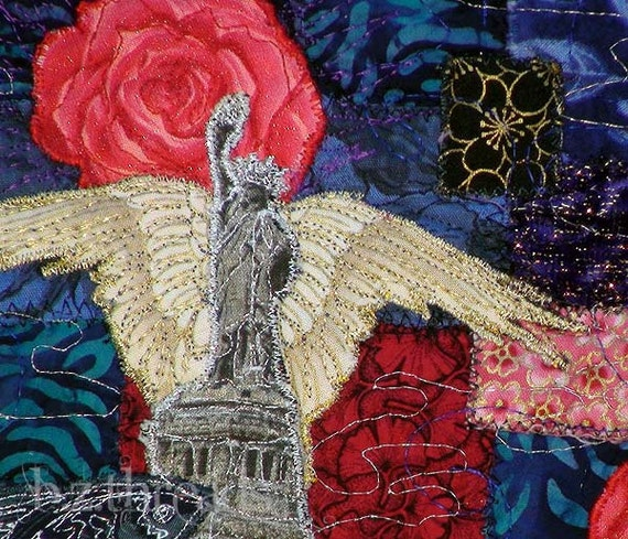 Love & Liberty:  Pair of Art Quilts.  Surreal Imagery - Free Shipping in USA- Reduced Shipping Int'l