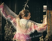 """Handmade knitted and crochet lace shawl """"Gentle rose's petals"""" in dusty rose, cream and beige sheep wool"""