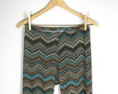 ANKLE LEGGINGS/ high waisted, tights, fitted, elastic waist, sweater knit, zig zag, missoni, teal, brown, geometric, blue, tan, small, large