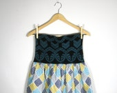 CONTRAST DRESS/ strapless, tight knit top, high waist, above the knee, blue, mustard, gray, black, turquoise, vintage fabric, large, medium