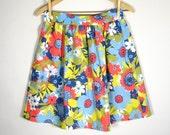 RACHEL SKIRT/ high waist skirt, waistband, button closure, full skirt, bright, red, blue, yellow, vintage fabric, bold floral print, medium