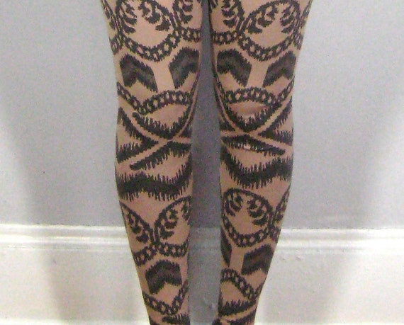 LONG LEGGINGS/ high waisted long leggings, tight and fitted, elastic at waist, tribal tattoo fabric, nude w/ charcoal chunky pattern