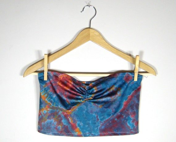 CROPPED TUBE TOP/ strapless, swim, sweetheart neckline, rouching at bust, blue, tie dye, geode, psychedelic, orange, magenta, full coverage