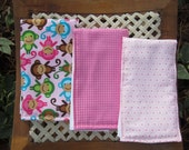 Baby Girl Monkey Burp Cloth Set - Baby Pink Monkey Baby Girl Set Monkey Burp Cloths  - Sweet Silly Monkey