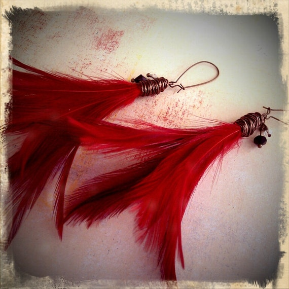 The Phoenix - Red Feather and Swarovski Crystal Earrings