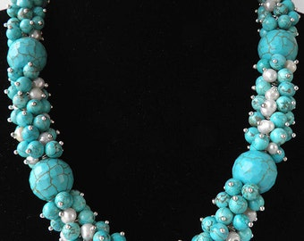 Chunky-Faceted Turquoise gemstone beads,Pearls necklace