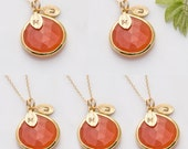 Set of 5 Personalized Monogrammed Bridesmaids Gifts Necklaces - Carnelian Necklaces - Bezel Gold Necklaces - Bridal Jewelry