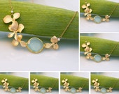 Set of 7 Aqua Blue Chalcedony and Gold Orchid Necklaces - 7 Bridesmaid Necklaces- Bezel Gold Necklaces - Bridal Jewelry