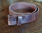 Brown Distressed Leather  Snap Belt - Made in USA -100% leather