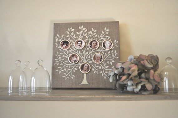 FAMILY TREE  Precious mothers day gift. 20 cm x20 cm Home decor.  Shabby chic ornament.