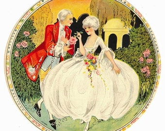 Very Colorful 1930s Hat Box Label-18th Century Style