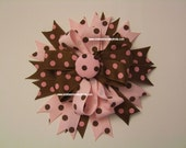 Pink Brown Dots Hairbow