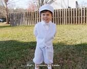 Complete Set-Blue Seersucker Stripe Newsboy Cap/Bowtie/Knickers/Vest