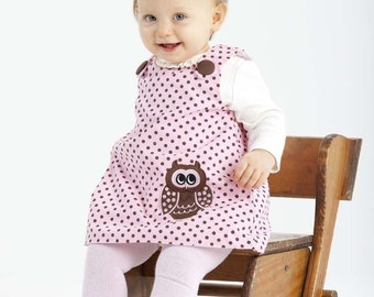 Pink/Brown Dot Aline Dress with Small Owl