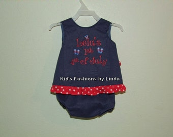 4th of July Ruffle Pinafore and Ruffle Bloomer Set-Personalization included