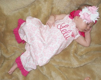 Personalized Pink/White Damask Aline Dress