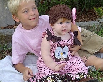Pink/Brown Dots Aline Dress with Large Owl Applique