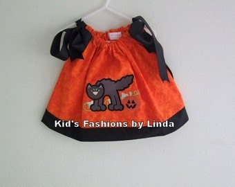 Orange Pillowcase Dress with Black Cat-Great for Pumpkin Patch