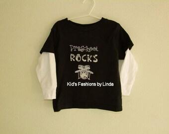 Preschool Rocks Black/White Long Sleeve or Black Short Sleeve Shirt
