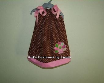 Colorful Brown/Pink Dot Turkey Pillowcase Dress
