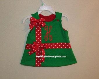 Reversible Christmas Present  Red/Green Aline Dress