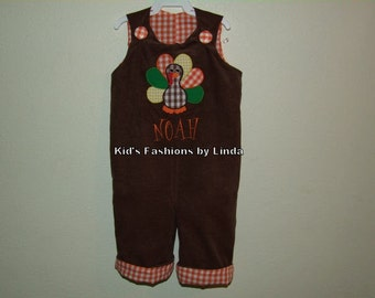 Brown Corduroy Orange Gingham Turkey Longalls-Personalization NOT included