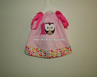 Pink Pillowcase Dress with Vine Cuff with 1 and Owl -Personalization Included