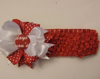 Christmas White/Red Hairbow