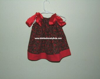 Hearts Brown/Red Pillowcase Dress