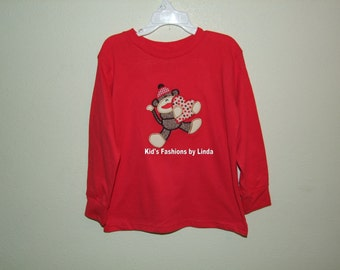 Red Sock Monkey Valentine  Long Sleeve Tshirt