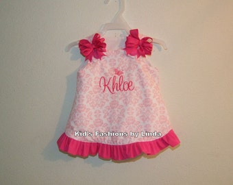 Personalized Pink/White Damask Aline Dress with Hot Pink Ruffle